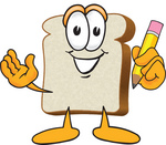 Clip Art Graphic of a White Bread Slice Mascot Character Writing With a Yellow Pencil