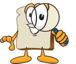 Clip Art Graphic of a White Bread Slice Mascot Character Looking Through a Magnifying Glass