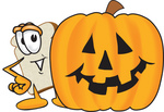 Clip Art Graphic of a White Bread Slice Mascot Character Peeking Out From Behind a Halloween Pumpkin
