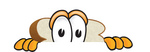 Clip Art Graphic of a White Bread Slice Mascot Character Looking Nervously Over a Surface