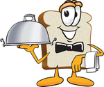 Clip Art Graphic of a White Bread Slice Mascot Character Serving a Food Platter While Waiting Tables