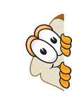 Clip Art Graphic of a White Bread Slice Mascot Character Peeking Around a Corner and Spying