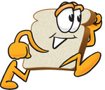 Clip Art Graphic of a White Bread Slice Mascot Character Running