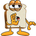 Clip Art Graphic of a White Bread Slice Mascot Character Gossiping and Telling Secrets While Whispering