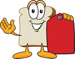 Clip Art Graphic of a White Bread Slice Mascot Character Holding a Red Clearance Price tag