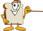 Clip Art Graphic of a White Bread Slice Mascot Character Holding a Pointer Stick