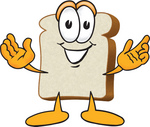 Clip Art Graphic of a White Bread Slice Mascot Character Greeting With Open Arms