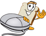 Clip Art Graphic of a White Bread Slice Mascot Character Resting One Hand on a Computer Mouse and Waving