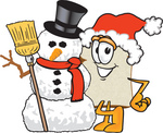 Clip Art Graphic of a White Bread Slice Mascot Character in a Santa Hat, Standing With a Snowman on Christmas