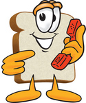 Clip Art Graphic of a White Bread Slice Mascot Character Holding a Red Telephone Receiver
