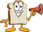 Clip Art Graphic of a White Bread Slice Mascot Character Preparing to Make an Announcement With a Bullhorn Megaphone