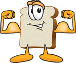 Clip Art Graphic of a White Bread Slice Mascot Character Flexing His Strong Bicep Arm Muscles