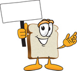 Clip Art Graphic of a White Bread Slice Mascot Character Holding a Blank White Advertisement Sign