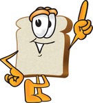 Clip Art Graphic of a White Bread Slice Mascot Character Pointing Upwards