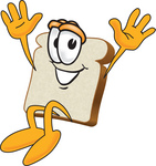 Clip Art Graphic of a Happy White Bread Slice Mascot Character Jumping