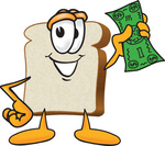 Clip Art Graphic of a White Bread Slice Mascot Character Waving Green Cash