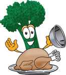 Clip Art Graphic of a Broccoli Mascot Character Serving a Cooked Thanksgiving Turkey on a Platter