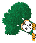 Clip Art Graphic of a Broccoli Mascot Character Looking Around a Corner
