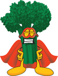 Clip Art Graphic of a Broccoli Mascot Character Wearing a Mask and Super Hero Cape
