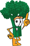 Clip Art Graphic of a Broccoli Mascot Character Pointing Upwards