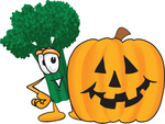 Clip Art Graphic of a Broccoli Mascot Character With a Carved Halloween Pumpkin