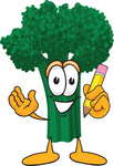 Clip Art Graphic of a Broccoli Mascot Character Holding a Yellow Pencil
