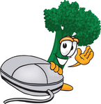 Clip Art Graphic of a Broccoli Mascot Character Waving While Standing by a Computer Mouse