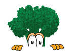 Clip Art Graphic of a Broccoli Mascot Character Peeking Over a Surface With a Scared Expression