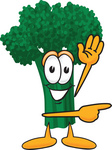 Clip Art Graphic of a Broccoli Mascot Character Waving and Pointing to the Right