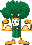 Clip Art Graphic of a Broccoli Mascot Character Flexing His Arm Bicep Muscles and Showing His Strength
