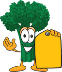Clip Art Graphic of a Broccoli Mascot Character Holding a Yellow Sales Price Tag