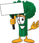Clip Art Graphic of a Broccoli Mascot Character Waving a Blank White Advertisement Sign