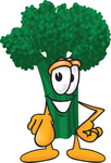 Clip Art Graphic of a Broccoli Mascot Character Pointing Outwards