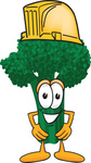 Clip Art Graphic of a Broccoli Mascot Character Wearing a Yellow Hardhat
