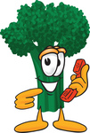 Clip Art Graphic of a Broccoli Mascot Character Pointing to a Red Telephone Receiver