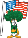 Clip Art Graphic of a Broccoli Mascot Character Pledging Allegiance to an American Flag