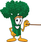 Clip Art Graphic of a Broccoli Mascot Character Holding a Pointer Stick