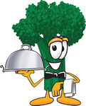 Clip Art Graphic of a Broccoli Mascot Character Waiting Tables and Serving a Dinner Platter