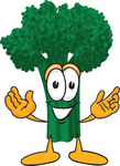 Clip Art Graphic of a Broccoli Mascot Character Greeting With Open Arms
