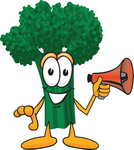 Clip Art Graphic of a Broccoli Mascot Character Preparing to Make an Announcement With a Red Megaphone Bullhorn