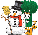 Clip Art Graphic of a Broccoli Mascot Character Standing Beside a Snowman on Christmas