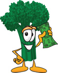 Clip Art Graphic of a Broccoli Mascot Character Waving a Green Banknote