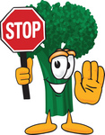 Clip Art Graphic of a Broccoli Mascot Character Holding a Stop Sign