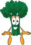 Clip Art Graphic of a Broccoli Mascot Character Sitting