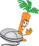 Clip Art Graphic of an Organic Veggie Carrot Mascot Character Waving and Standing by a Computer Mouse