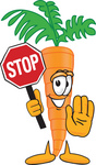Clip Art Graphic of an Organic Veggie Carrot Mascot Character Holding a Stop Sign