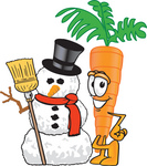 Clip Art Graphic of an Organic Veggie Carrot Mascot Character Standing by a Snowman