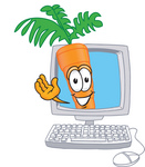 Clip Art Graphic of an Organic Veggie Carrot Mascot Character Waving From Inside a Computer Screen