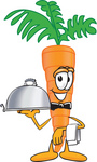 Clip Art Graphic of an Organic Veggie Carrot Mascot Character Serving a Platter While Waiting Tables