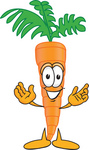 Clip Art Graphic of an Organic Veggie Carrot Mascot Character With Welcoming Open Arms